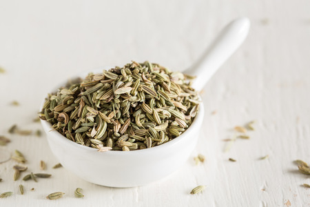 fennel seed: Macro shot of fennel seeds in small swhite bowl
