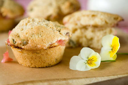 rhubarb: Delicious muffins filled with pistachio nuts and rhubarb Stock Photo