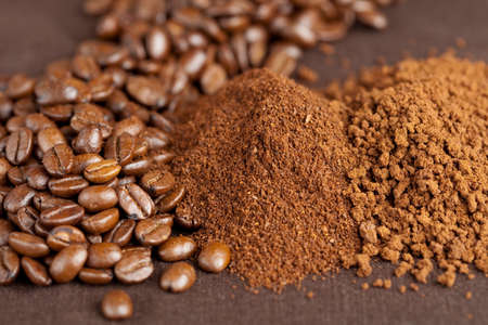 coffeebeans: Pile of coffeebeans, filtercoffee and instant coffee