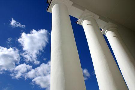 White columns, blue sky