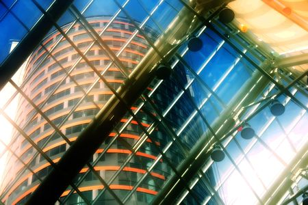 vitreous: Corporate building. Another one visible through the vitreous roof. Artistical toned