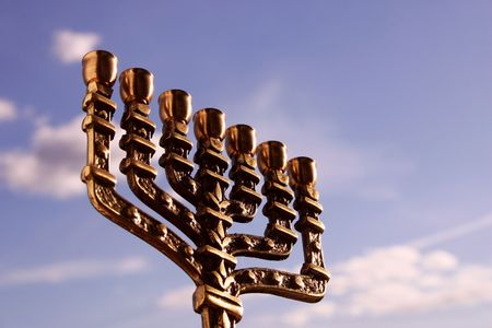 israelite: Menorah close-up against the sky