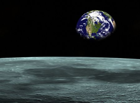 Space travel- Earth planet looking from the Moon. Digitaly created Stock Photo - 240200