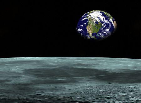 Voyage spatial de la Terre cherchent plan�te de la Lune. Digitaly cr��  Banque d'images