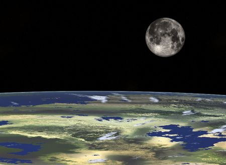 Space travel- Full Moon looking from the Earth. Digitaly created Stock Photo