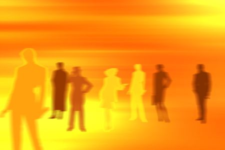 Conceptual business image: dream team. A group of color blurred silhouettes of various people in various poses.
