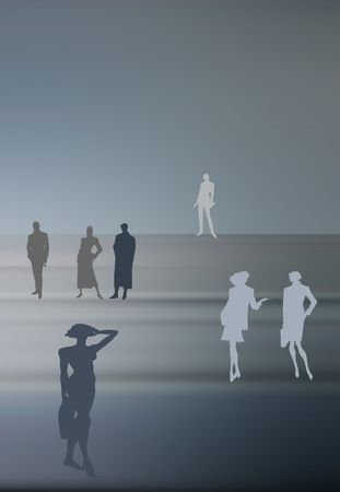 Conceptual business image: dream team. A group of color silhouettes of various people in various poses. photo