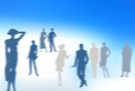 Conceptual business image: dream team. A group of color blurred silhouettes of various people in various poses. photo
