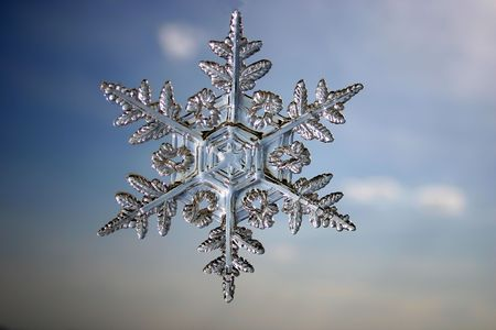 Snowflake against the sky