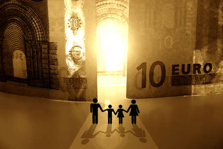 Conceptual and metaphorical image showing people coming in to the Kingdom of Money. Close-up of the 10 Euros bills and family near to the gap between banknotes. Light through the door in a distance and the shadows. Strongly toned with intense colours.