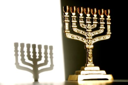 sacral: Menorah, close-up with shadow Stock Photo