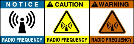 critic: Radio frequency warning series. Three different noticecautionwarning signs. Made with PS, big size, high RES & quality. Stock Photo