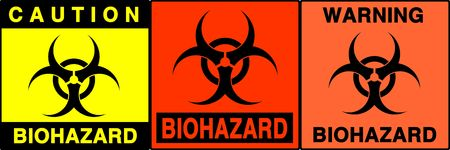 Biohazard warning series. Three different signs. Made with PS, big size, high RES & quality Stock Photo - 240006