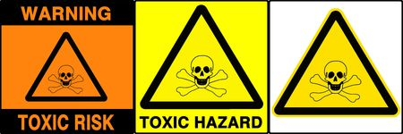 critic: Toxic risk warning series. Three different signs. Made with PS, big size, high RES & quality.