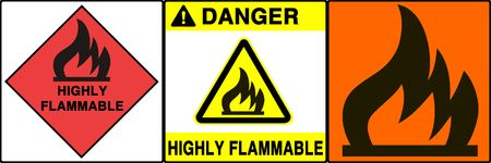 Flammable signs series. Three different signs. Made with PS, big size, high RES & quality Stock Photo - 240004
