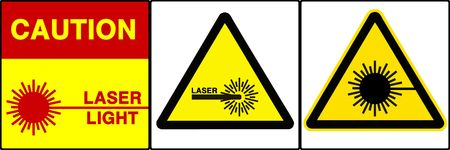 Laser light warning series. Three different signs. Made with PS, big size, high RES & quality Stock Photo - 240003