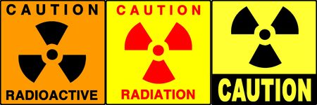 res: Radiation warning series. Three different cautionwarning signs. Made with PS, big size, high RES & quality. Stock Photo