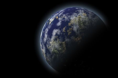 moons: Earth planet, a bit clouded, against the black. Digital design Stock Photo