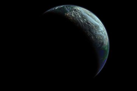 moons: Earth like planet at dawn, digital designed