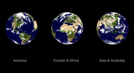 Real looking Earth planet. Three different angles. Please note- this globe is accurate and right, like in reality. Digital designed Stock Photo - 239933