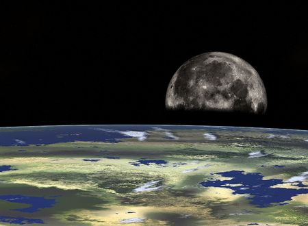 moons: Space travel - Half Moon looking from the Earth. Digital design