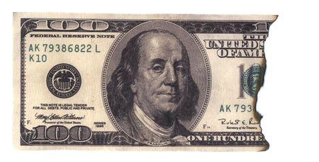 gelt: Burned 100 dollars banknote Stock Photo