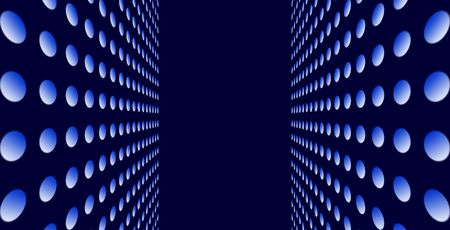 Double sided perspective view. Blue lamps against the dark blue background Stock Photo