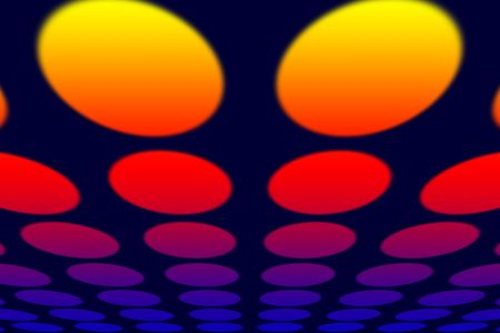 characteristics: Perspective view. Color lamps against the dark blue background. See some optical illusions because of different colors characteristics