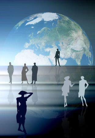 Conceptual business image: dream team. A group of color silhouettes of various people in various poses. Stock Photo