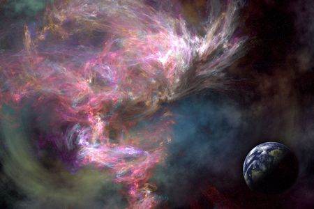 Space scenario: Galaxy background, Earth in the front photo