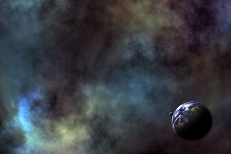 Space scenario: Galaxy background, Earth and the Moon in the front photo