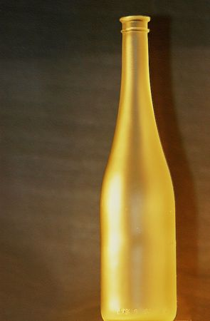 processed: Wine bottle, digitally processed. Blured and lacquered in gentle colours Stock Photo