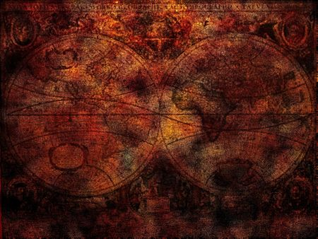 Ancient world map background, rusty colors Stock Photo