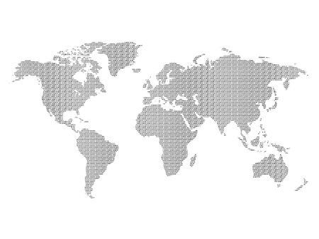 World map textured with binary code