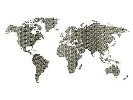 Los presidentes de los d�lares de los E.E.U.U. textured el mapa del mundo Foto de archivo - 242223