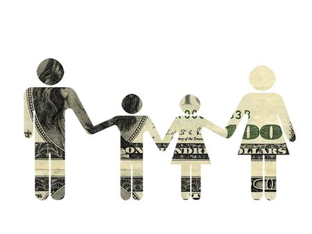 Family silhouette, textured with 100 dollars banknote. Isolated on the white