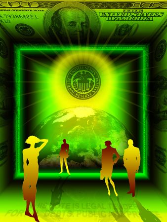Conceptual business image. Abstract digital design on the moneyfinanceworld order trade and general business theme. A shaining stamp UNITED STATES FEDERAL RESERVE  SYSTEM in the center. People, Earth and 100 dollars banknote. Stock Photo