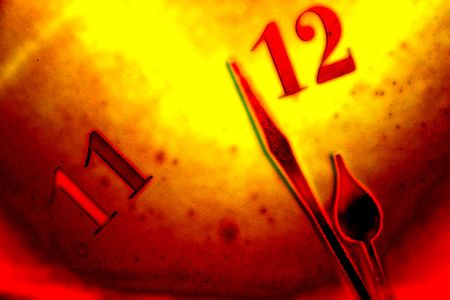 Grunge clock face background with ending time: clock finger near to 12 Stock Photo