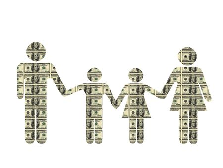 Famille silhouette, textur� avec billet de $ 100. Isol� sur le blanc