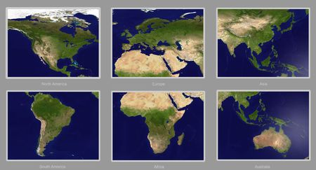 Real looking Earth map, six continents. Please note- this map is accurate and right Stock Photo - 242191