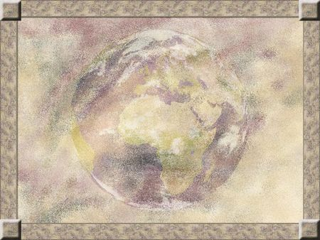 Light pastel background with Earth in the center, framed
