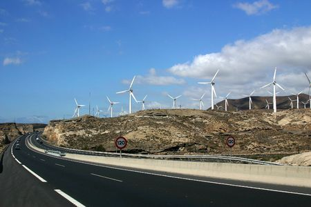 powerstation: Highway in Canary Islands. Wind power-station in the right