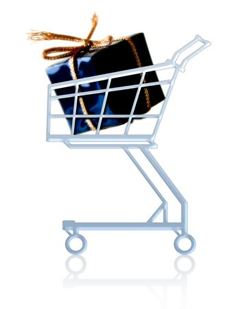Gift in a shopping cart. Isolated