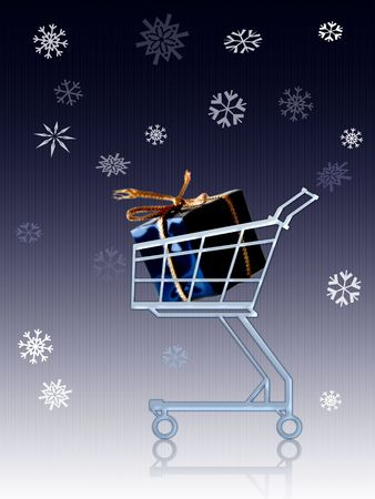Gift in a shopping cart. Background small lined verticaly Stock Photo - 254137