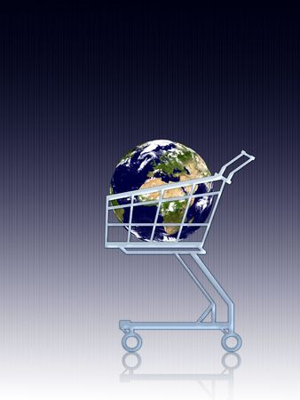 Conceptual: Earth in a cart. Stock Photo