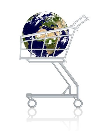 Conceptual: Earth in a cart, isolated.!