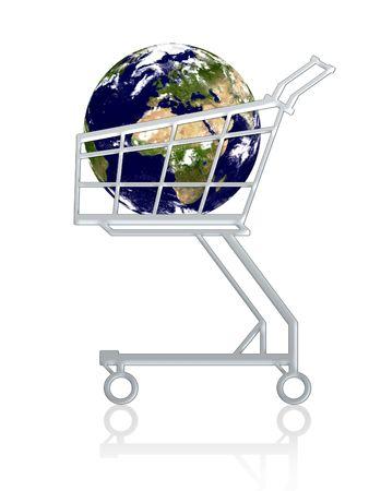 Conceptuel: la Terre dans un panier, isol�s.!