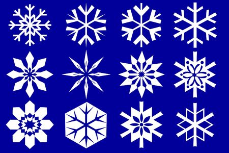 Snowflakes collection. Isolated on the blue