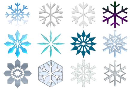 Snowflakes collection. Isolated on the white Stock Photo