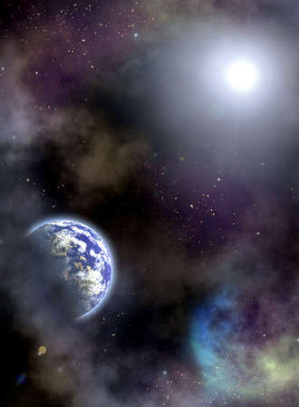 Space scenario. Earth in the space photo